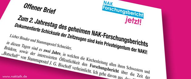 NAK Zweiter Jahrestag geheimer Forschungsbericht