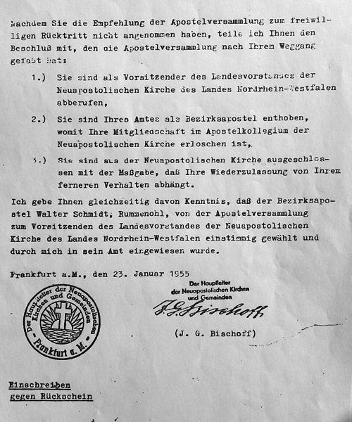 NAK Amtsenthebung 1955 durch Stammapostel J. G. Bischoff